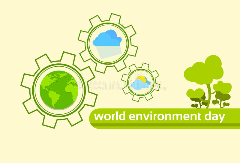 Green Tree Globe Earth Planet Climate World Environment Day vector illustration