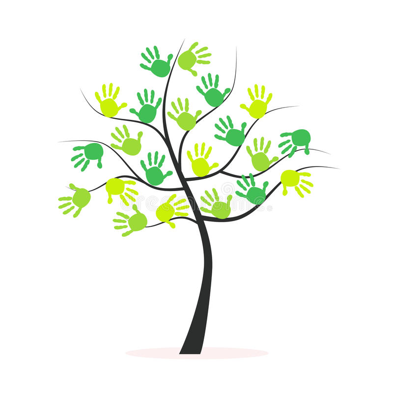 Green Tree With Hand Prints Vector Background Stock ...