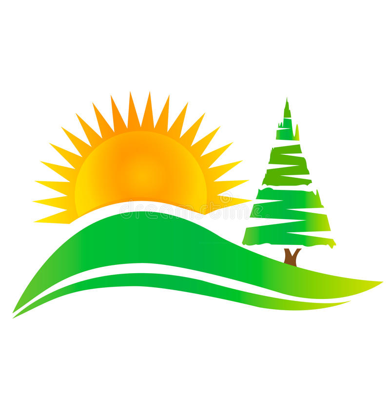 Green tree -hills and sun logo. Green tree -hills and sun mountains logo vector eps10 royalty free illustration