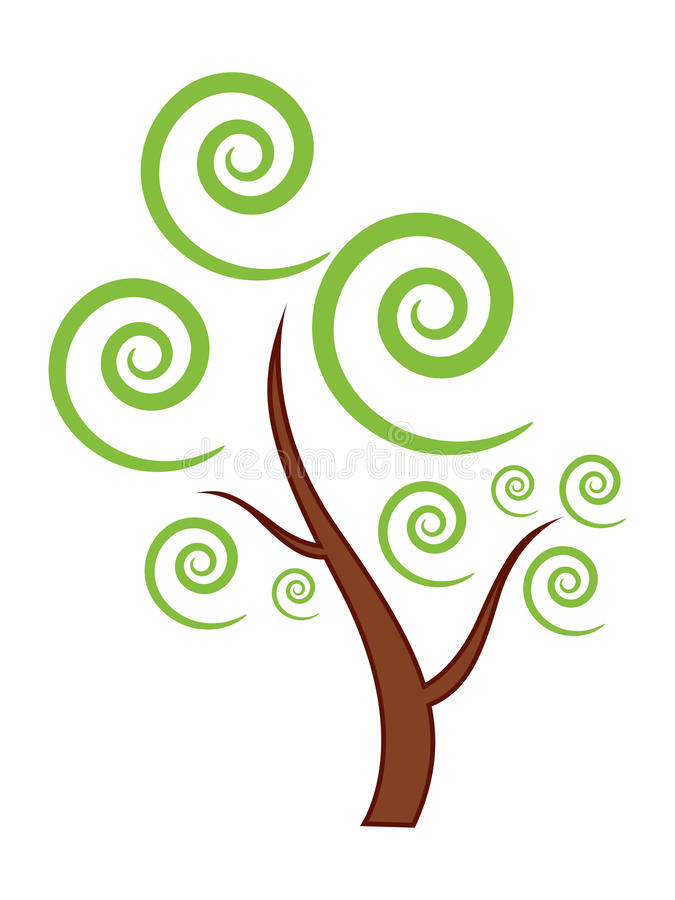 Green Tree icon. Isolated Green Tree icon with swirls stock illustration