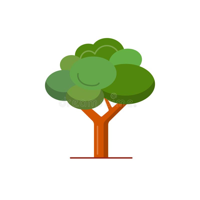 Green tree icon in flat style. stock illustration