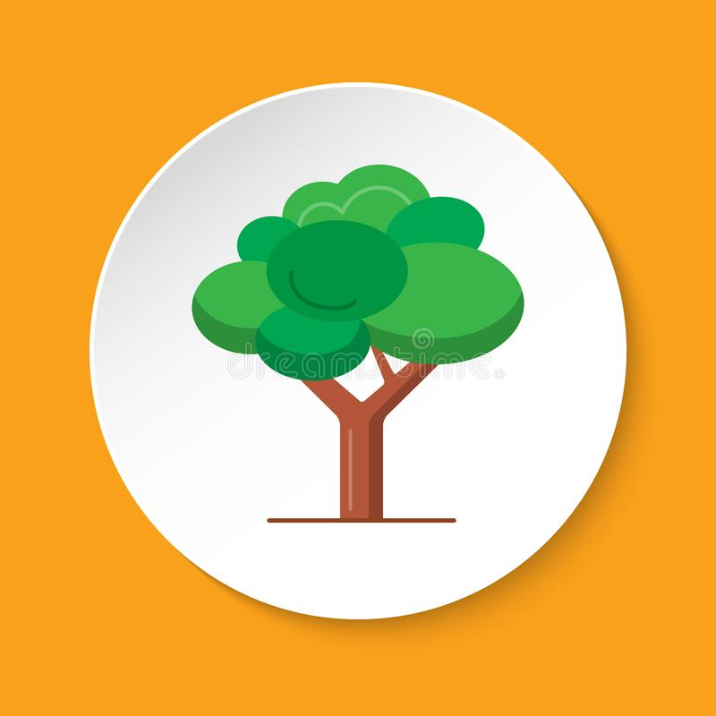Green tree icon in flat style on round button vector illustration