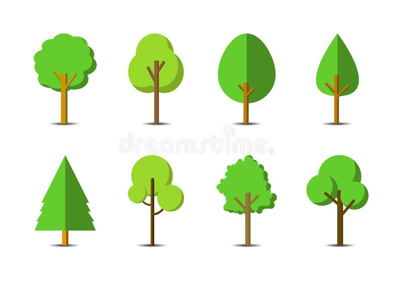 Green tree icon set on white background, Flat forest vector collection, isolated draw nature illustration royalty free illustration