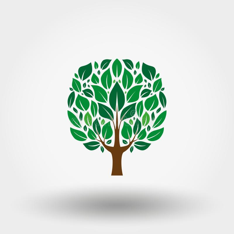 Green tree. Icon. Vector. Flat. royalty free illustration