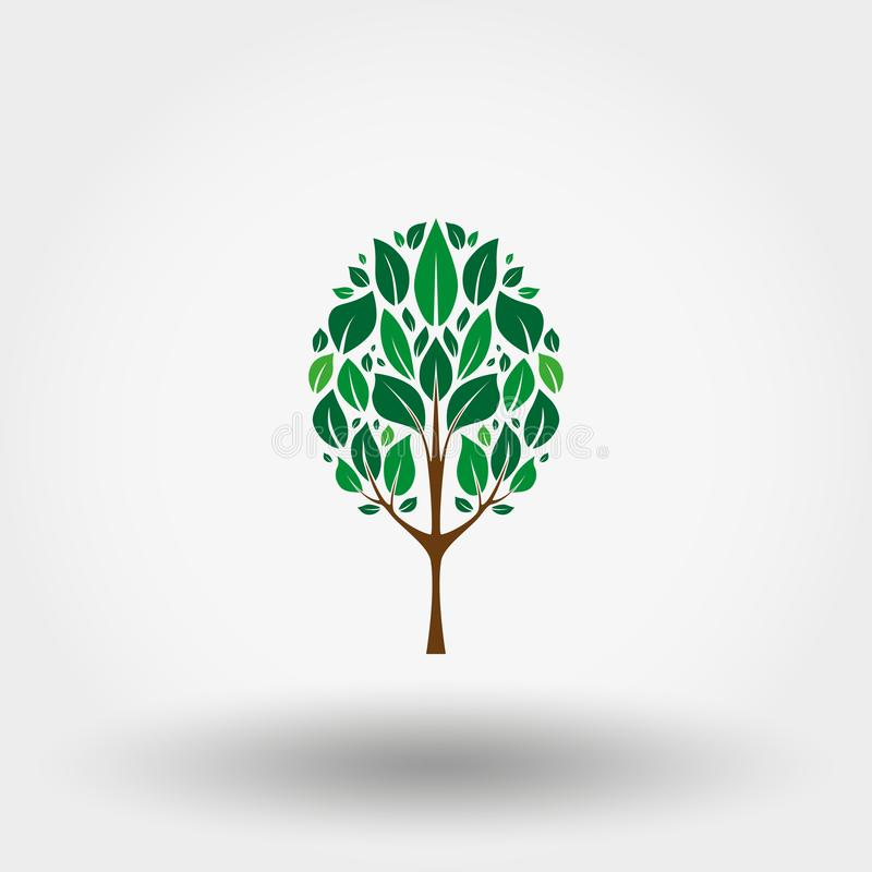 Green tree. Icon. Vector. Flat. stock illustration
