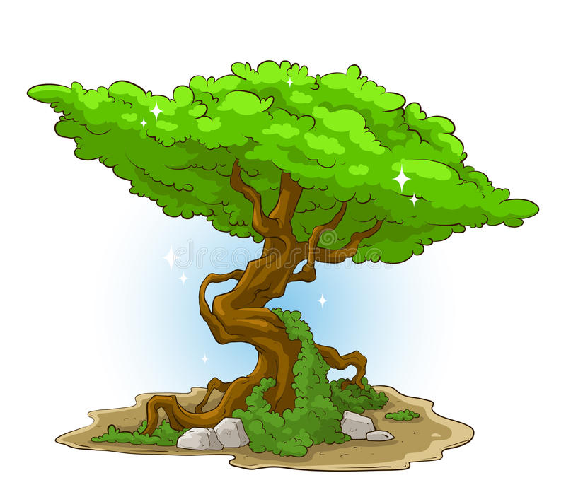 Big green tree with moss and stone vector illustration