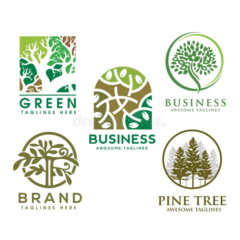Green tree with leaves logo. herbal leaf circle stock illustration