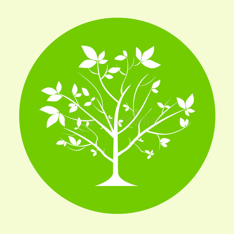 Green Tree Logo Flat Circle Icon Vector Stock Vector ...