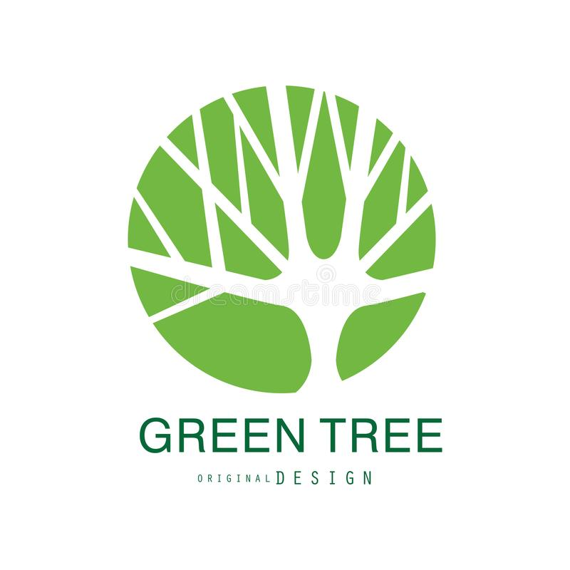 Green tree logo original design, eco and bio badge, abstract organic design element vector illustration. Isolated on a white background royalty free illustration