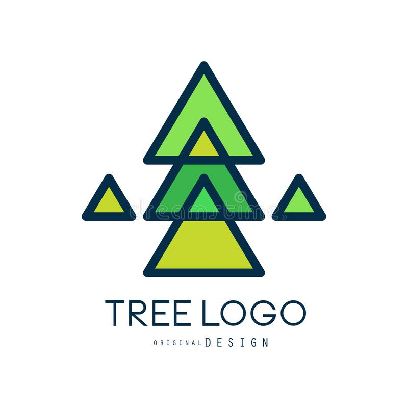 Green tree logo original design, green geometric fir tree badge, abstract organic element vector illustration vector illustration