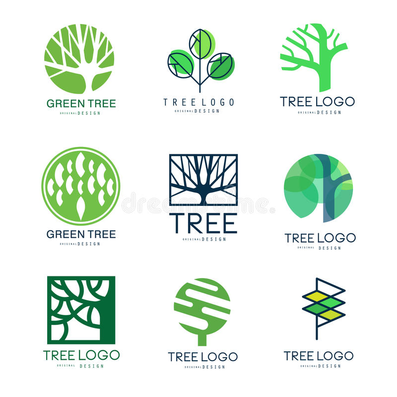 Green tree logo original design set of vector Illustrations in green colors vector illustration