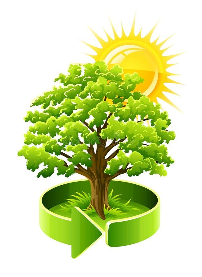 Green tree oak as ecology symbol royalty free illustration