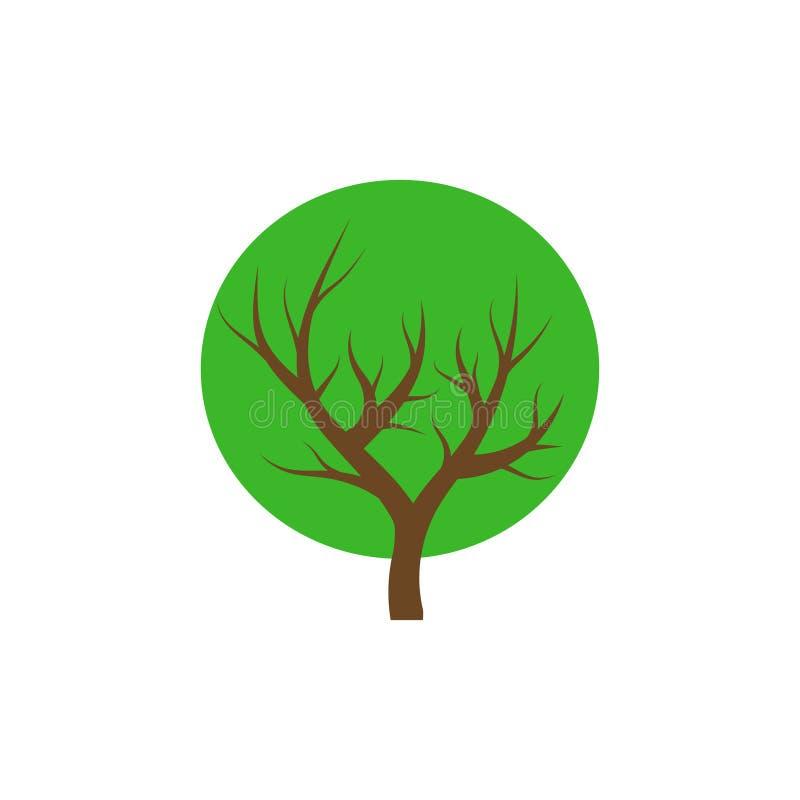 Green tree round icon, vector illustration logo design. stock illustration