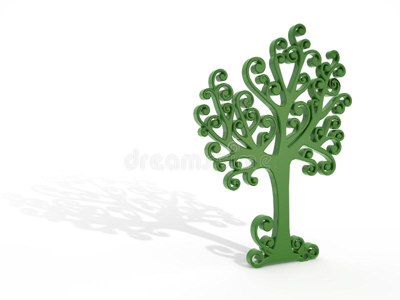 Green tree with shadow stock photo