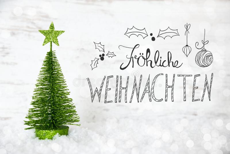 Green Tree, Snow, Calligraphy Froheliche Weihnachten Means Merry Christmas royalty free illustration