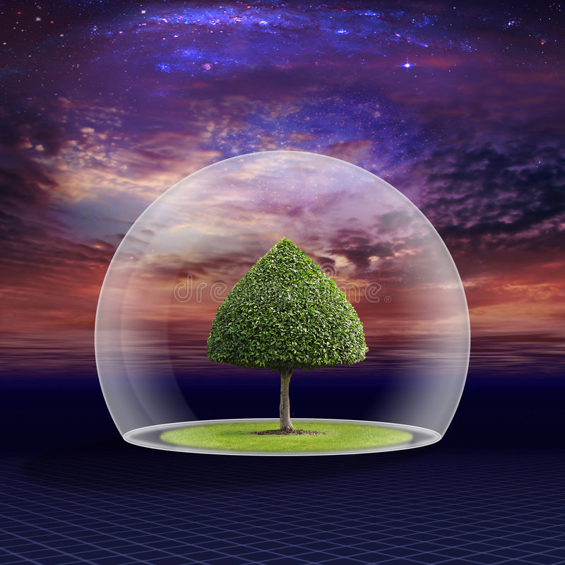 Download Green Tree Is Under The Protection Stock Illustration - Image: 7854151