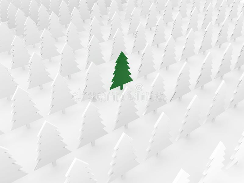 Green tree among white pines stock photography
