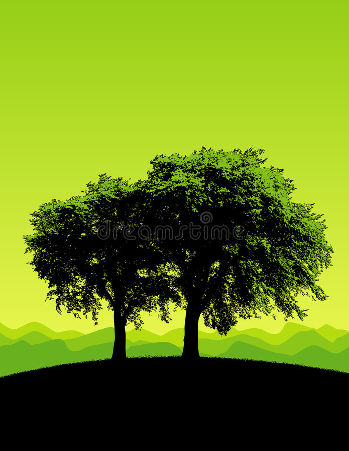 Green trees. With green background and earth. Available in vector format royalty free illustration