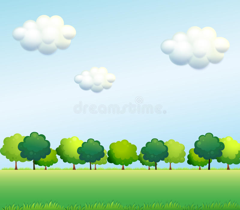 The green trees below the clear blue sky stock illustration