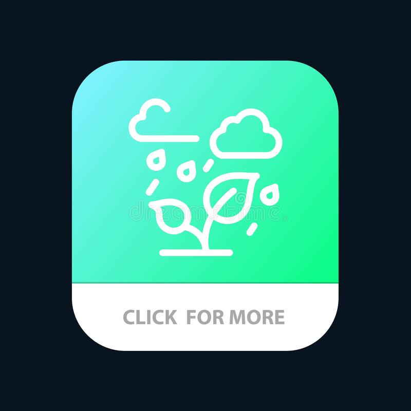 Green, Trees, Cloud, Leaf Mobile App Button. Android and IOS Line Version stock illustration