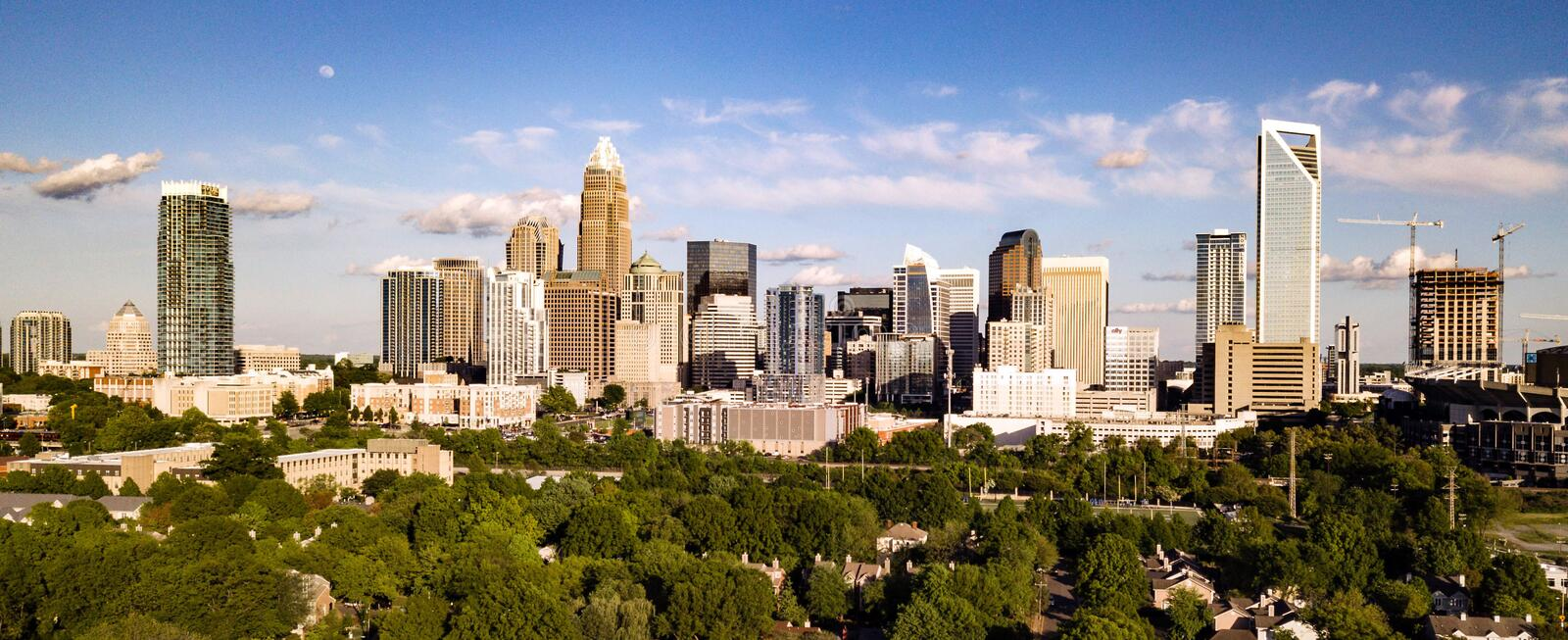 Aerial View Long Panoramic Shot of Charlotte North Carolina Downtown royalty free stock photography