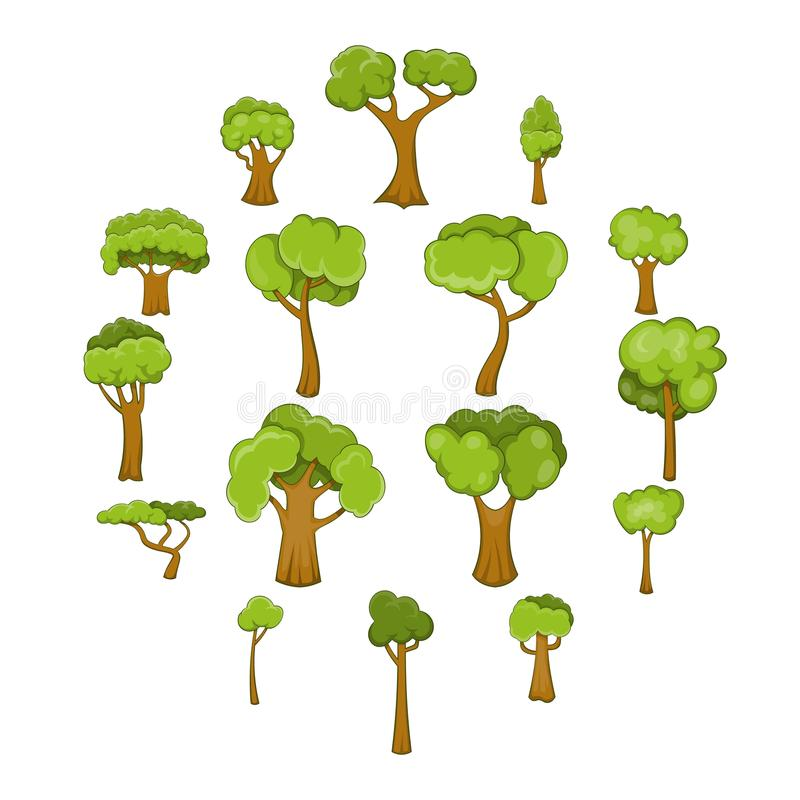 Green trees icons set, cartoon style. Green trees icons set. Cartoon illustration of 16 green trees vector icons for web stock illustration