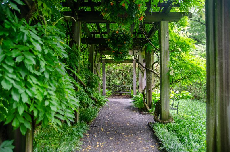 Green trees and lawns at Longwood Garden. Pennsylvania. USA royalty free stock photos