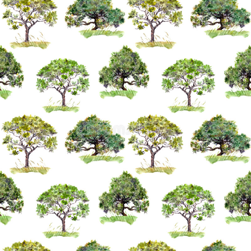 Green trees. Outdoor ecology background. Repeating pattern. Watercolor. Green trees. Outdoor ecology background. Repeating watercolor pattern royalty free stock images