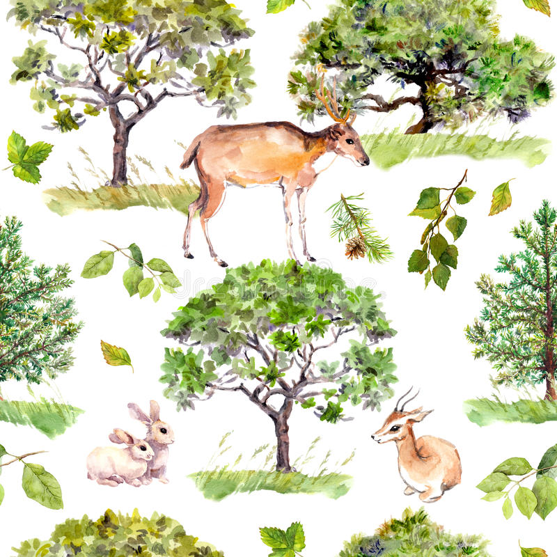 Green trees. Park, forest pattern with forest animals - deer, rabbits, antelope. Seamless repeating background. Watercolor pattern royalty free illustration