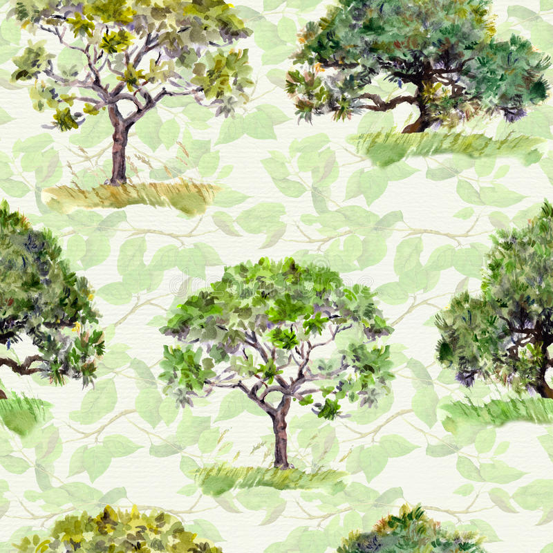 Green trees. Park, forest pattern. Seamless background with leaves. Watercolour. Green trees. Park and forest pattern. Seamless background with leaves royalty free stock photos