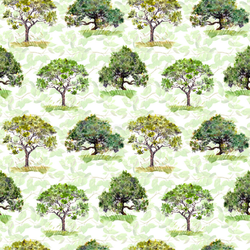Green trees. Park, forest repeating pattern. Background with green leaves. Watercolor royalty free stock photo