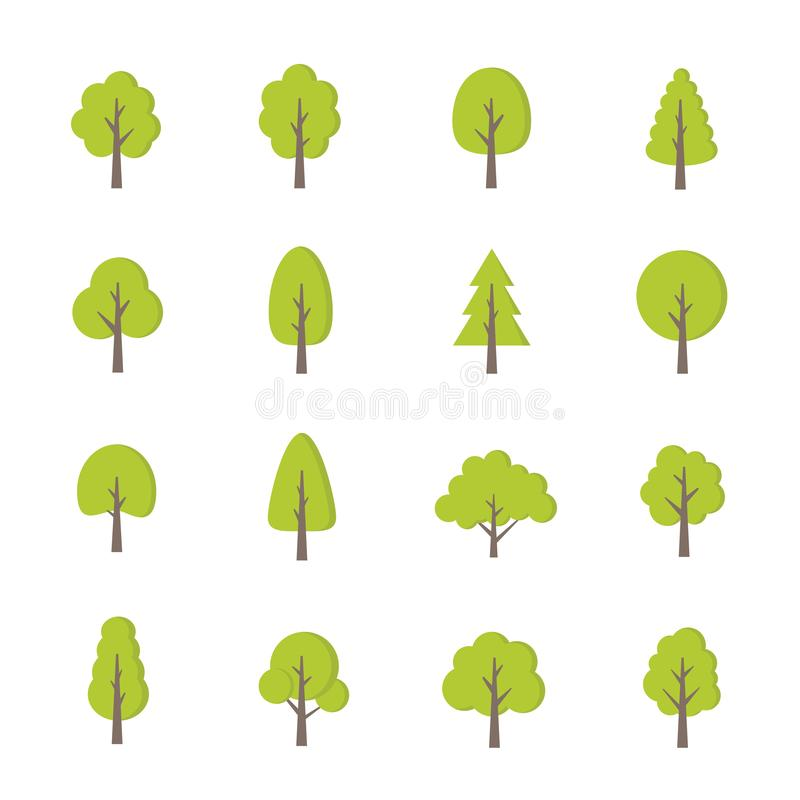 Green trees set. Flat style. Flat forest tree icon - stock vector vector illustration