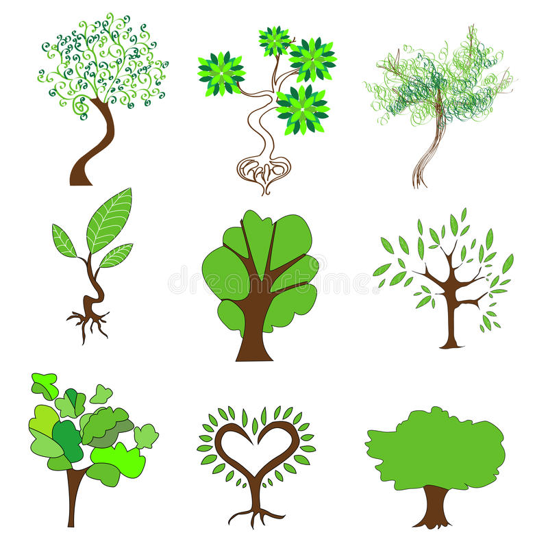 Download Green Trees On A White Background Stock Photo - Image: 33027780