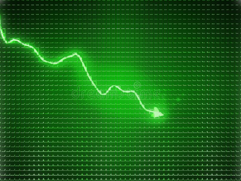Green trend graph as symbol of business contraction. Or financial crisis stock illustration