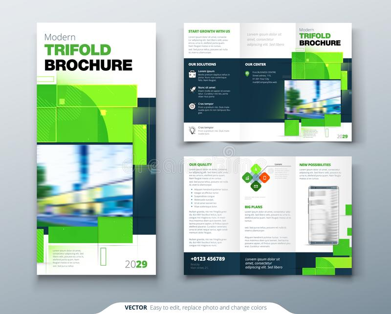 Green Tri Fold Brochure Design with Square Shapes. Corporate business template for tri fold flyer. Creative concept. Green Tri Fold Brochure Design with Square royalty free illustration