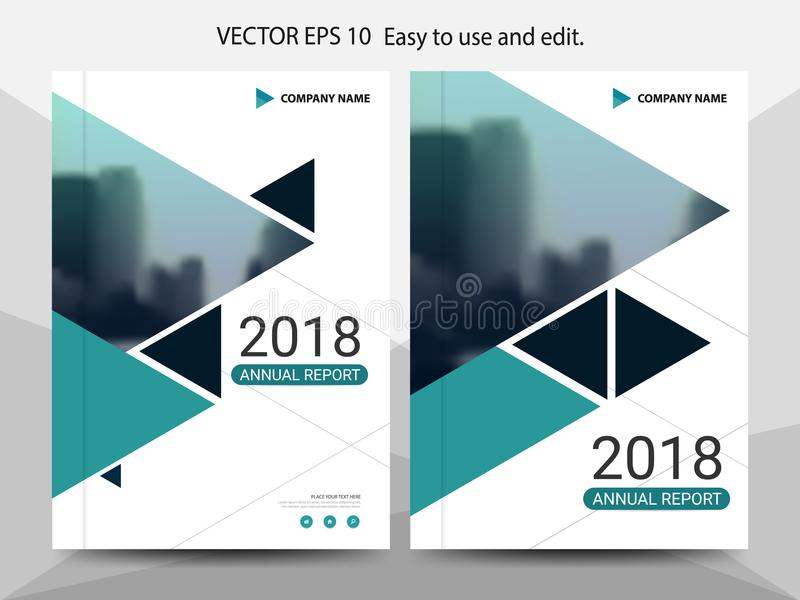Green triangle annual report Leaflet Brochure Flyer template design, book cover layout design, abstract business presentation. Template, a4 size design royalty free illustration