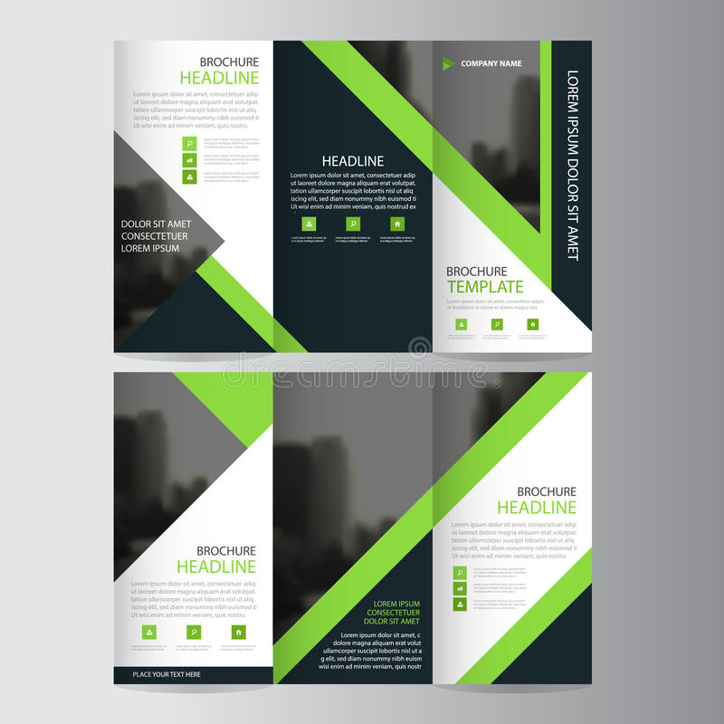 Green triangle business trifold Leaflet Brochure Flyer report template vector minimal flat design set, abstract three fold. Presentation layout templates a4 stock illustration
