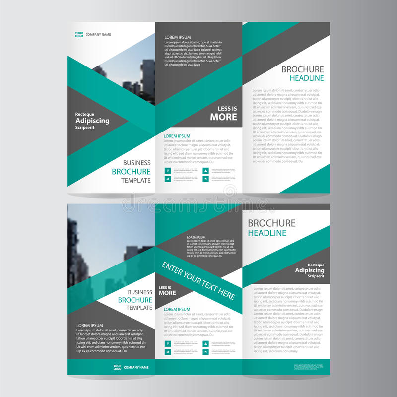 Green trifold annual report Leaflet Brochure Flyer template design, Abstract layout templates stock illustration
