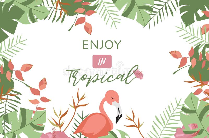 Green tropical greeting card with palm, coconut tree,hibiscus,flamingo and flower stock illustration