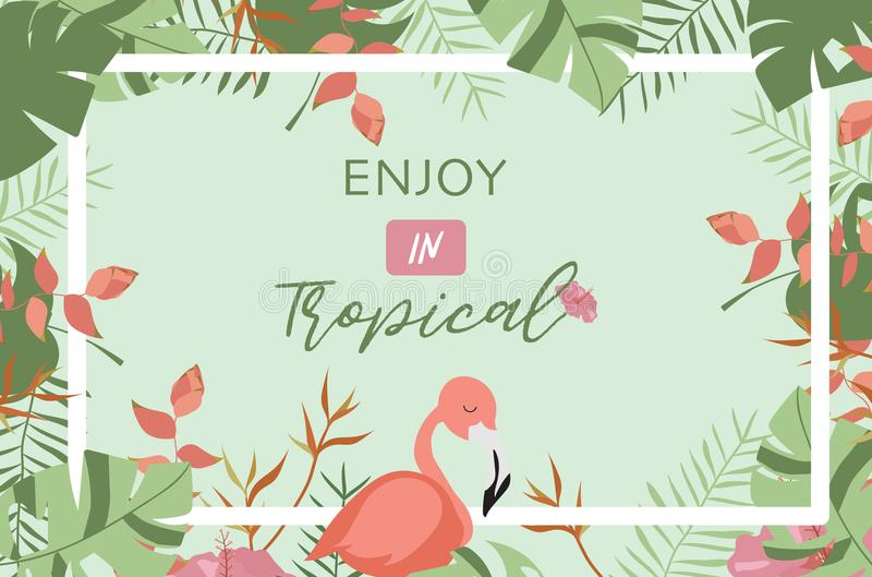 Green tropical greeting card with palm, coconut tree,hibiscus,flamingo and flower vector illustration