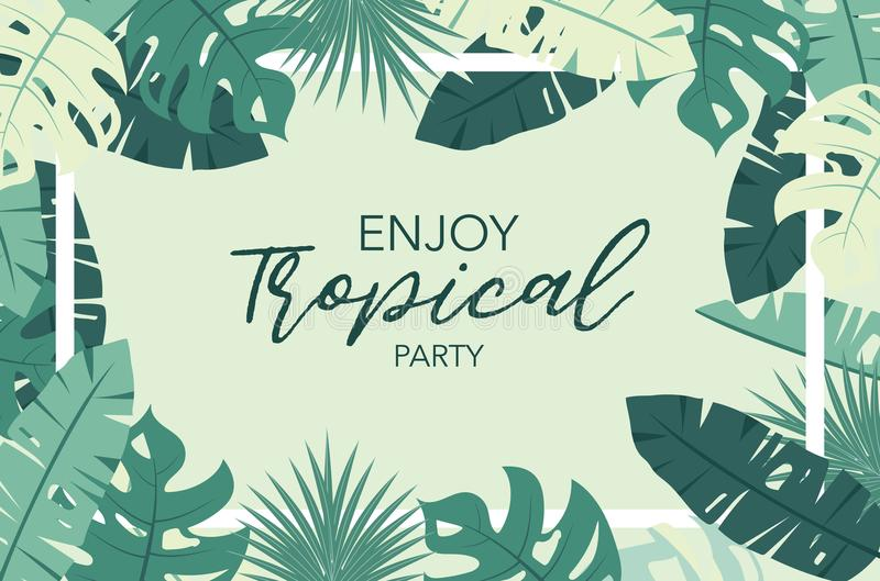 Green tropical greeting card with palm, coconut tree,hibiscus an vector illustration