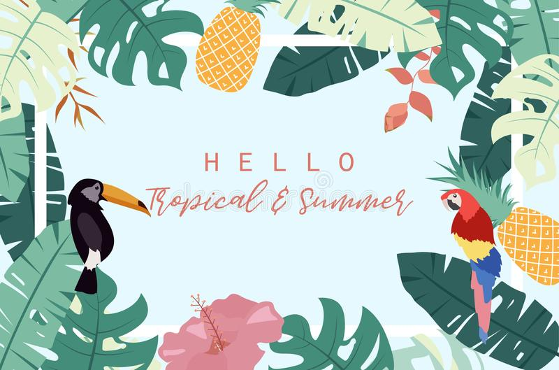 Green tropical greeting card with palm, coconut tree,hibiscus,hornbill,parrot,pineapple and flower vector illustration