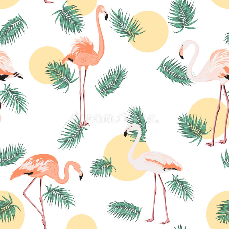 Green tropical leaves pink flamingo sun moon round vector illustration