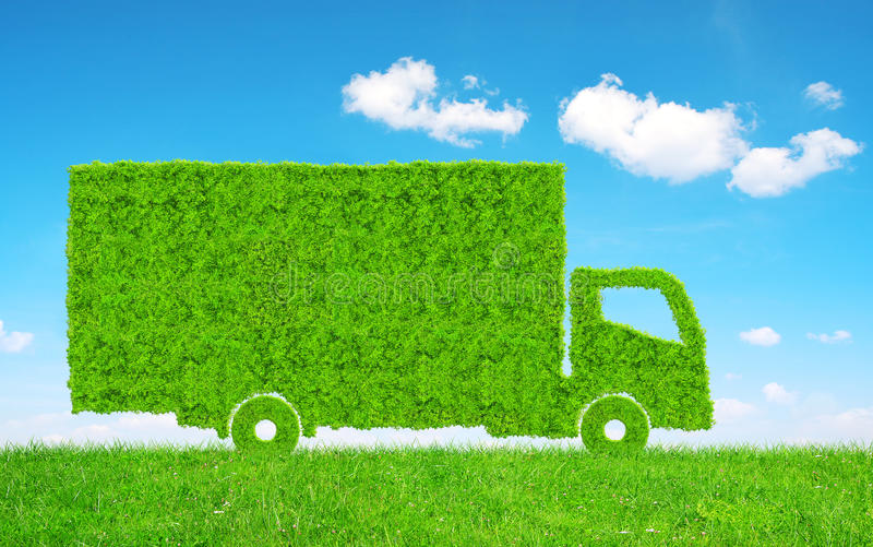Green truck in grass. royalty free stock images