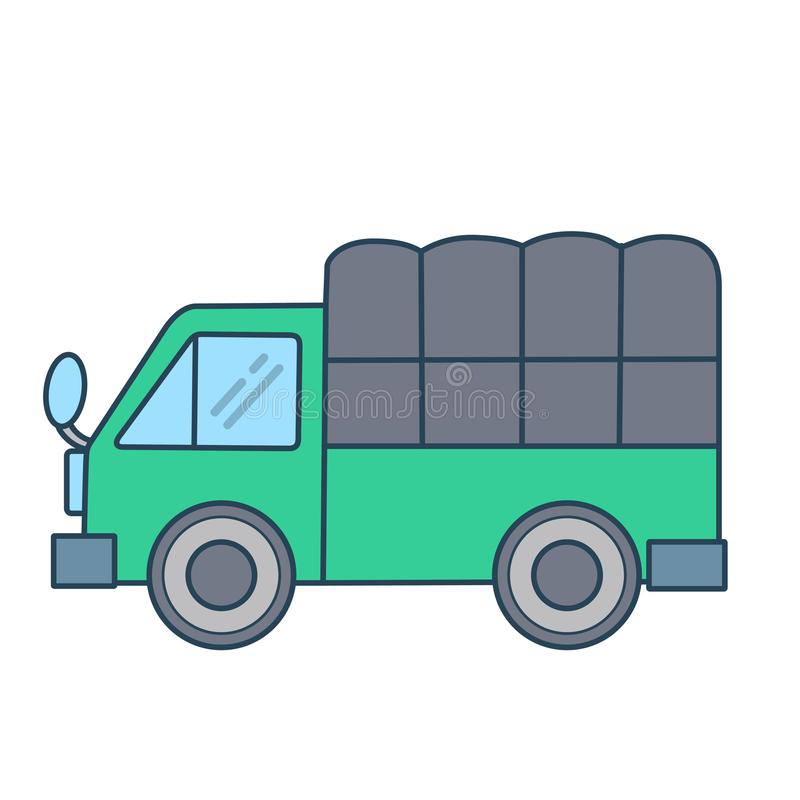 Linear green truck on white background. A green truck with linear style. Simple and easy for display on any devices or website stock illustration