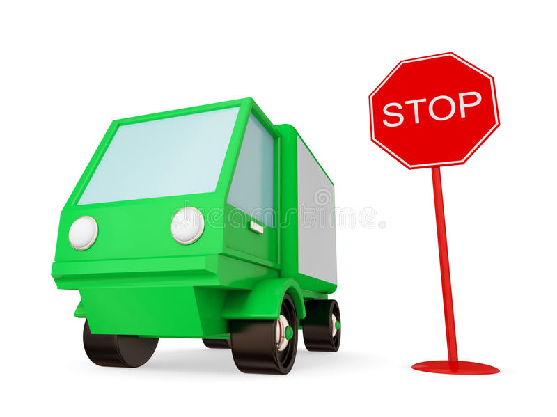 Download Green Truck With STOP Sign. Stock Photo - Image: 21123100