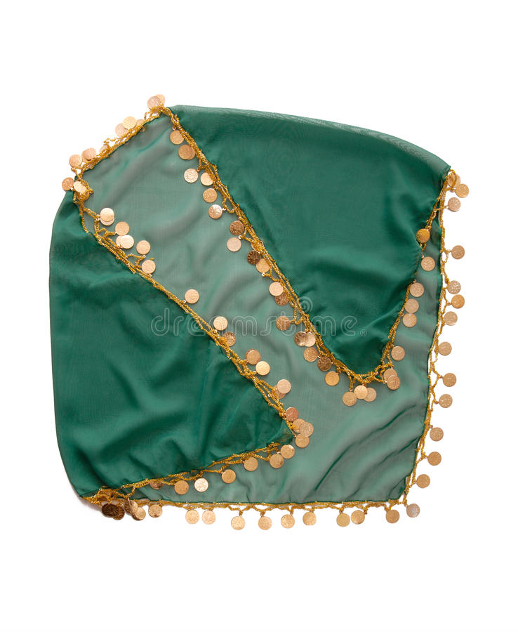 Green turkish headscarf for belly dance royalty free stock images