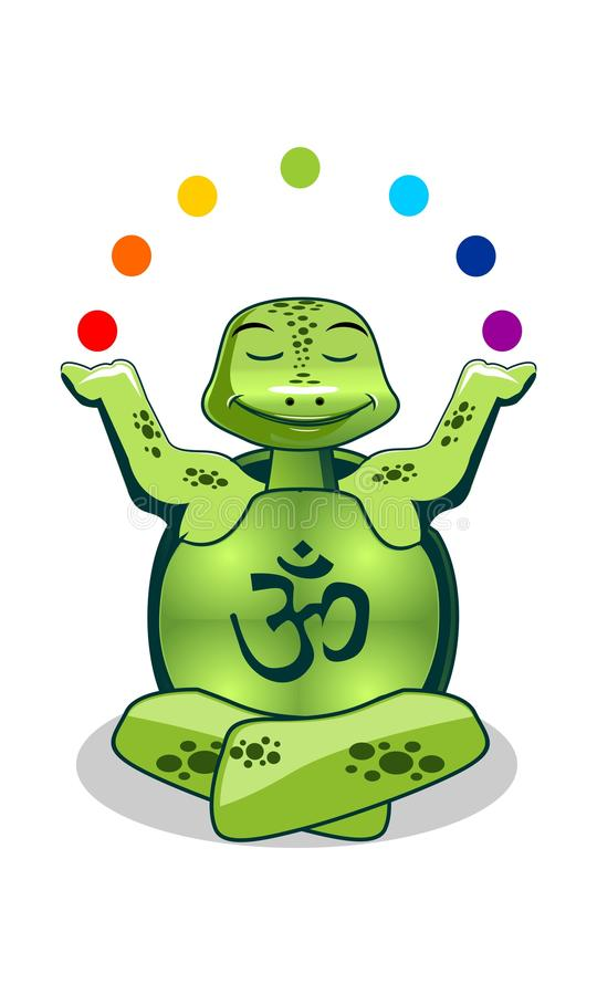 Green turlte yoga stock illustration
