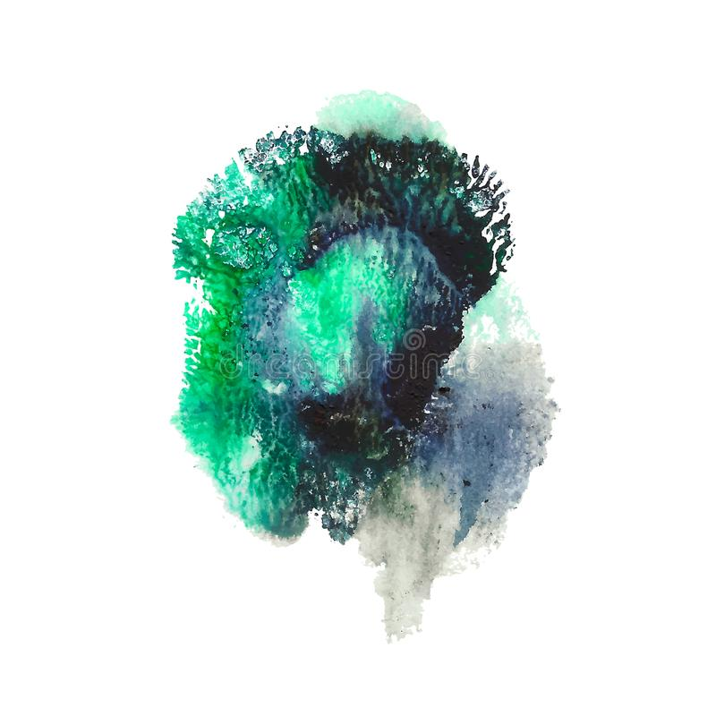 Green, turquoise, black bright acrylic paint abstract spot. Coral shaped imprint. vector illustration