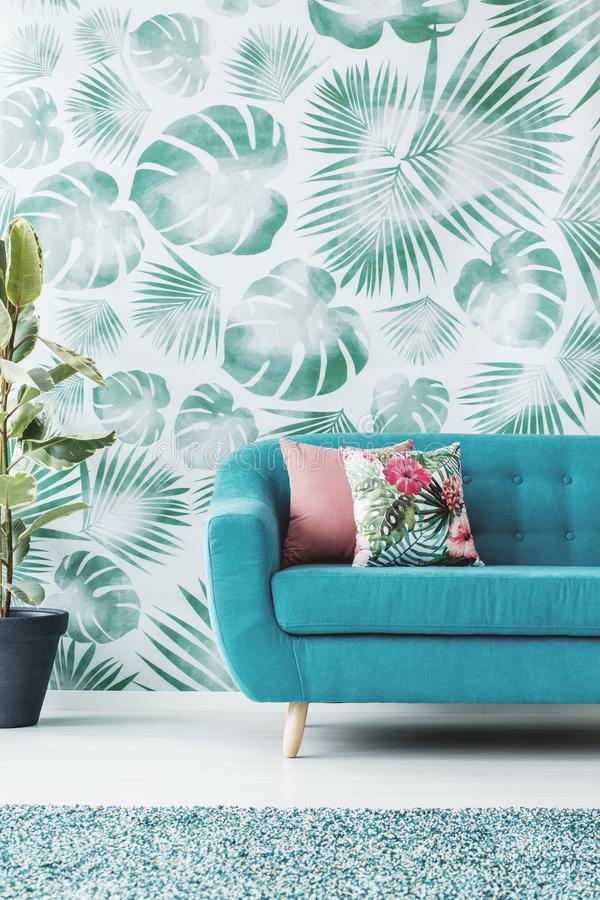 Green and turquoise living room stock photo